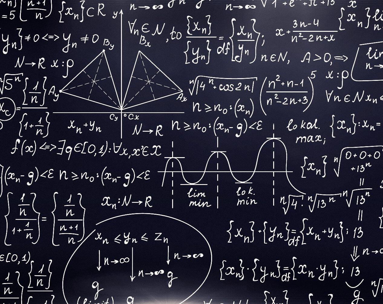 Blackboard with mathematical formulas